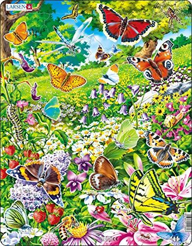 Larsen FH28 Schmetterlinge in einem schönen Blumenfeld, Rahmenpuzzle mit 42 Teilen
