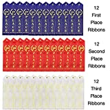 J&J'S TOYSCAPE 36 Pcs Award Ribbons with a Card and String (1st Place (Blue), 2nd Place (Red), 3rd Place (White) - 12 Each; Size: 8.6') Sport Competition's Award Ribbons, Talent Show Ribbons
