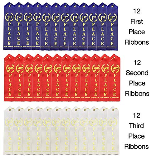 """36 Pcs Award Ribbons with a Card and String (1st Place (Blue), 2nd Place (Red), 3rd Place (White) - 12 Each; Size: 8.6"""") Sport Competition's Award Ribbons, Talent Show Ribbons"""