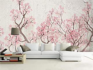 FSLUCKY Custom Wallpaper 3D Mural Creative Flowers and Birds Background Wall New Chinese Retro Cherry Blossom 3D Wallpaper -B