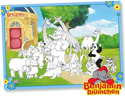 6 Platzsets * BENJAMIN BLÜMCHEN * zum Ausmalen für Kinderparty und Kindergeburtstag von DH-Konzept // Töröööö // Elefant Kinder Party Set