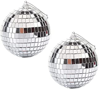 YeenGreen 2 Pack Spiegel Ballen, Zilver Glitter Bal 10 cm Glas Spiegel Glitter Bal Reflecterende Spiegel Bal Zilver Disco ...