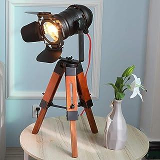 Lampe Trepied Industrielle Projecteur Cinema Bois Table Noir Vintage Lampadaire Sur Pied Salon Design E27