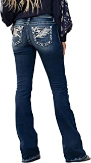 Sponsored Ad - HYPOWELL Women's Feather Flower Embroidery Mid Rise Stretchy Bootcut Jeans