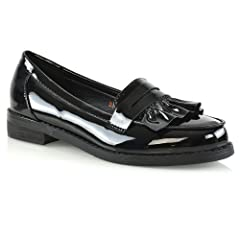 0fc8c7993f8 ESSEX GLAM Womens Flat Penny Loafers Synthetic Leather Mocass .