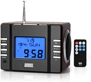 Clock Radio with MP3 Alarm - August MB300 - Wake to Your Favourite Music from USB and SD or FM Station - Rechargeable Port...