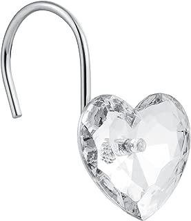 Cyrra Decorative Crystal Heart Shape Shower Hooks Rust Resistant Hooks Glide Shower Ring Hangs for Shower Curtain 12-Pack (Crystal White Heart)
