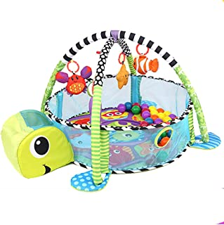 Baby Play Gym, 3 in 1 Activity Mat with Removable Toys Bars & Walls, Infant Marine Ball Pool, 4-Piece Hanging Toys & 30-Piece Ball Pit, Cute Sea Turtle Pattern