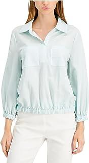 ALFANI Womens Light Blue Collared Top AU Size:10