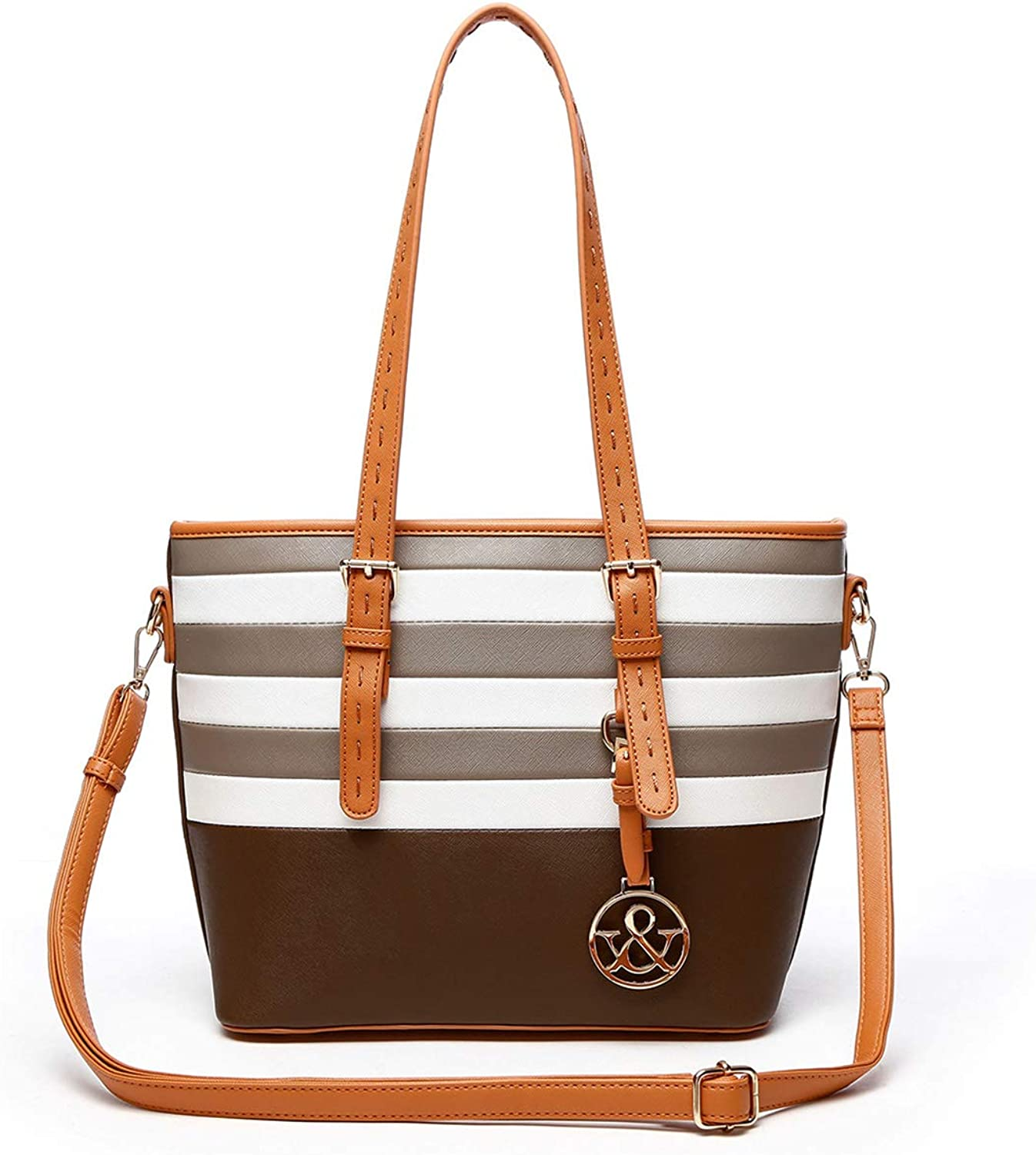 HNA Classic Multi color Striped Top Handle Tote Bag