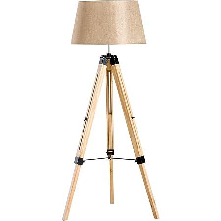 HOMCOM Lampadaire trépied Hauteur réglable 65 x 65 x 99-143 cm Lampe de Sol 40 W Bois Style Nordique Beige