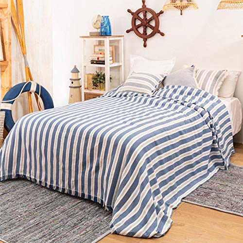 LA MALLORQUINA Colcha - Navia (Cama 090 o 105cm - 180x260cm - Azul) | Colcha de Verano y Entretiempo Multiusos de Diseño