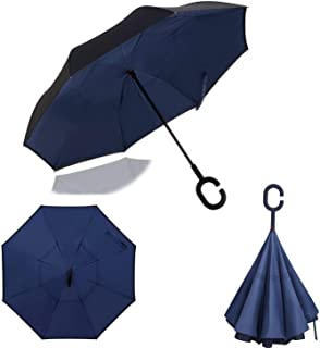 Dopobo Double Layer Inverted Umbrella Cars Reverse Umbrella Extremely Waterproof and Windproof Inverted Umbrella with C-Shaped Handle (BLBK)