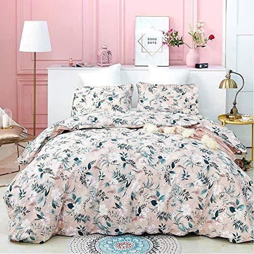 karever Mauve Botanical Comforter Set King Green Plant Leaves Rustic Bohemian Pattern Blush Pink Beddig Set Floral Print Quilt Set for Kids Teens Adult