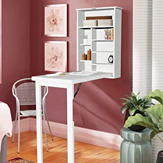 Ustyle Fold Out Convertible Wall Mount Desk White Home Office Fold Out Desk with Storage Fold-Out Convertible Desk