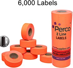 Fluorescent Red Perco Labels for Perco 2 Line Labeler Gun - 1 Sleeve, 6,000 Labels - with Bonus Ink Roll