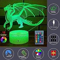 タッチコントロール、16色変更可能なリモートおよびタッチコントロールLEDテーブルデスクランプ火ドラゴン3D LEDナイトライト子供クリスマスギフト家の装飾