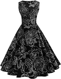 Pingtr Women's Vintage Hepburn Dress Xmas Gift,1950s Classy Rockabilly Retro Floral Pattern Print Cocktail Evening Swing P...