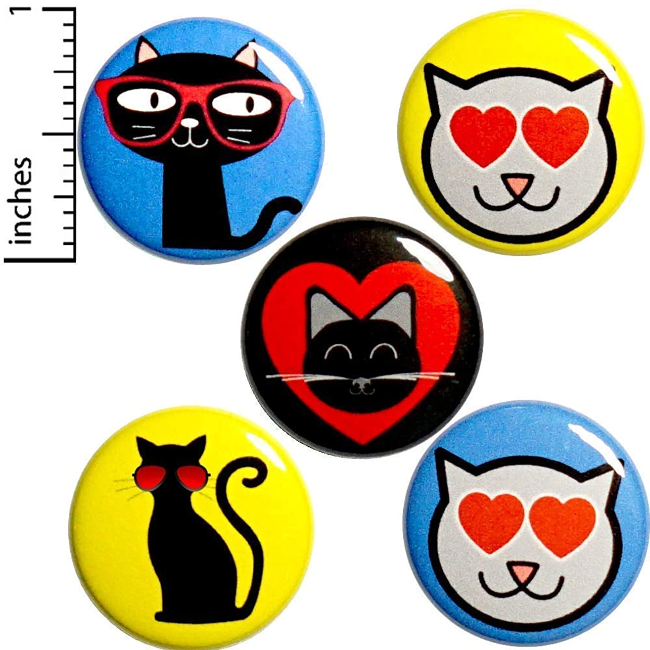 Cute Cat Buttons 5 Pack Pin or Magnet 1 Inch P21-3