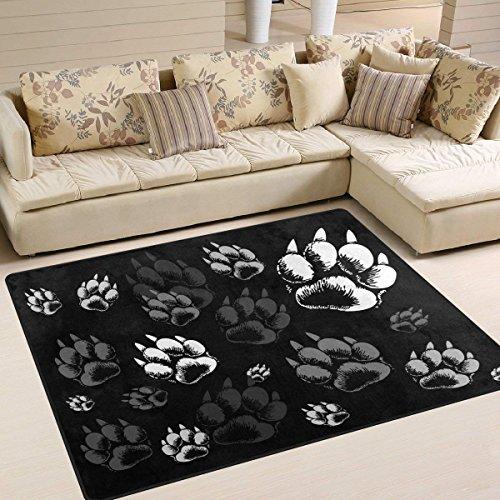 G.H.Y Area Rug Abstract Wolf Paw Print Schwarzer Teppich für Wohnzimmer Schlafzimmer 36 x 24 in