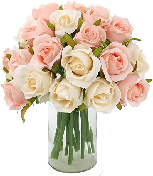 CEWOR 2 Pack Artificial Rose Flowers 12 Heads Silk Flowers Rose Bouquet For Home Bridal Wedding Party Festival Decor Champagne Colored