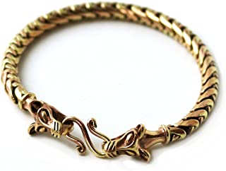 LynnAround Bronze Norse Viking Gold Tone 5 mm Snake Chain Wolf Bracelet for Men Women Pagan Jewelry