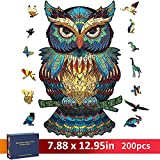 Wooden Puzzles for Adults, CGELETS 200 Pieces Unique Animal Shaped Wooden Jigsaw Puzzles, Challenging Family Activity Gift for Adults and Kids, Ideal Home Decor (7.9'' x 13'')