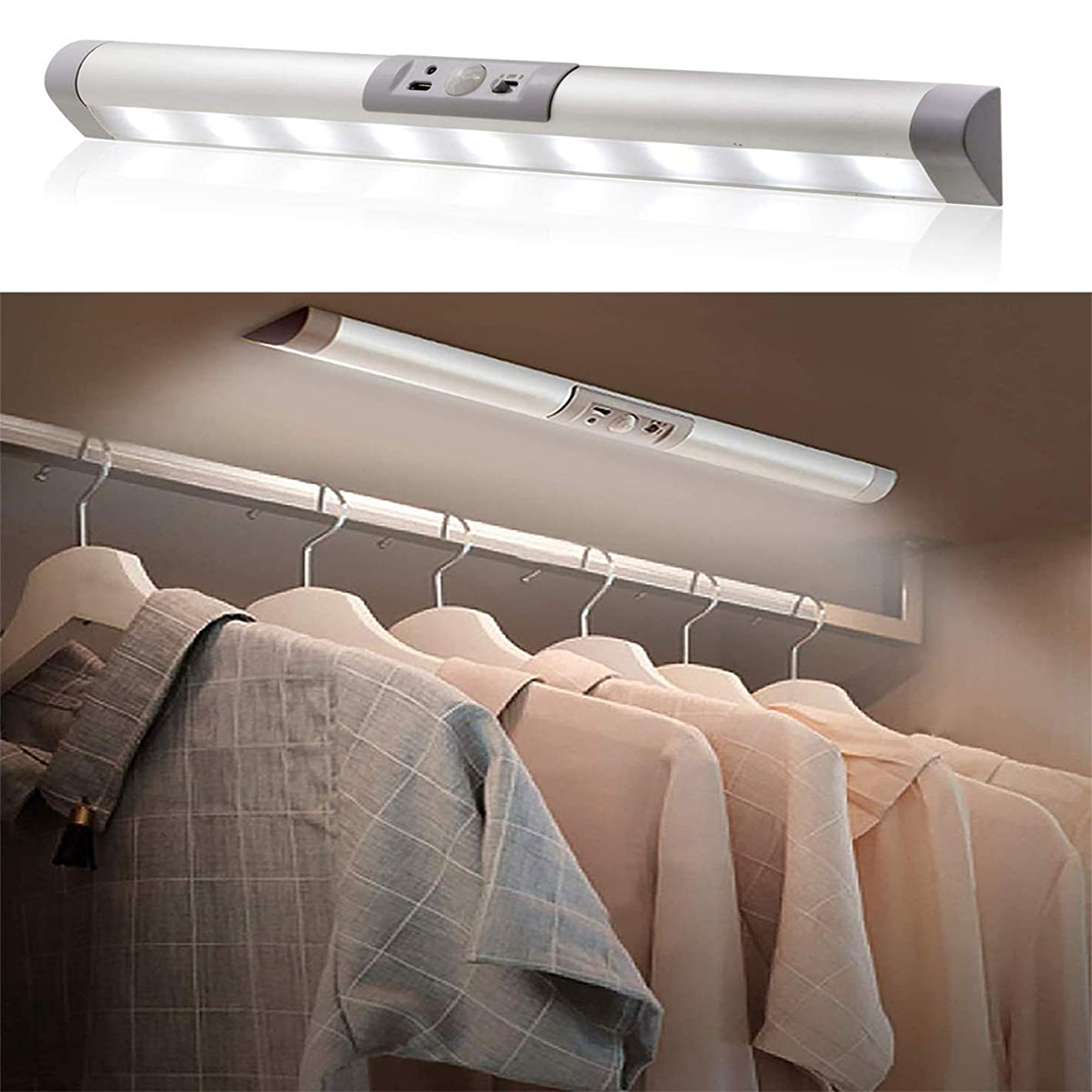 代数厚い哲学的LEDセンサー ライト 室内 人感 USB 充電式 3つモード キッチンライト 配線不要 マグネット付き 貼り付け式 足元灯 目に優しい 明るい 高感度 超寿命 省エネ 棚下ライト 夜間照明 寝室/授乳用/クローゼット/玄関/廊下/階段ライトに最適