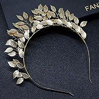 女性のための手織りヘアバンドリーフパールヘッドバンド花嫁クラウンティアラウェディングヘアアクセサリー