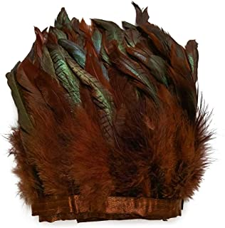 wanjin Rooster Hackle Feather Fringe Trim Craft Feather 5-7 inch Width Pack of 2 Yards (Brown)
