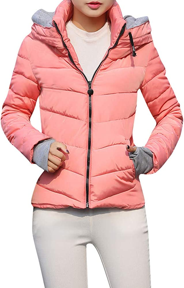 AKIMPE Women's Down Jacket Winter Thickened Puffer Coat Zipper Parka Shearling Hooded Outwear for Spring