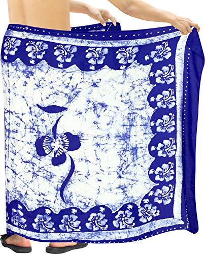 LA LEELA glatt Kunstseide Hibiskus Batik Badehosen Schwimmen Männer Sarong Blau_P345 eine Größe: Länge: 72