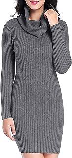 Cuello de Mujer Elástico de Punto Jersey de Manga Larga Vestido de Manga Larga de Mujer Jersey de Punto Redondo Jersey Camisa Casual Camisa Casual Slim Mini Falda Monocromo riou