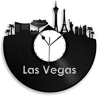 Las Vegas Vinyl Wall Clock City Skyline Travel Souvenir