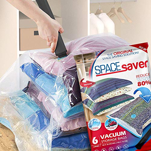Spacesaver Premium Vacuum Storage Bags. 80% More Storage! Hand-Pump for Travel! Double-Zip Seal and Triple Seal Turbo-Valve for Max Space Saving! (Jumbo 6 Pack)
