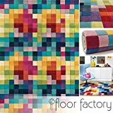 Tappeto Moderno di Lana Festival multicolore 140x200cm - 100% pura lana vergine in colori luminosi e moderni