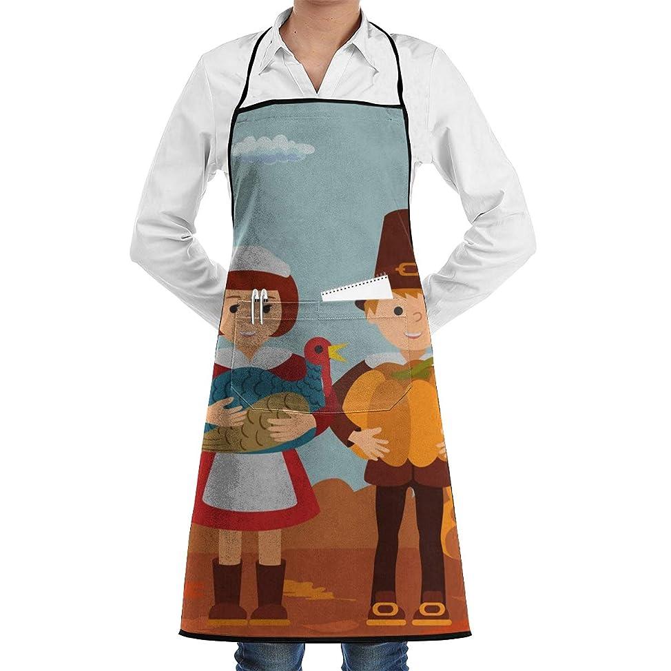富放つ市長エプロン Thanksgiving Day Children Pumpkin And Turkey カフェエプロン ビブエプロン キッチンエプロン ?胸当て 前掛け 腰巻 H型 ロング キッチン カフェ 飲食店 保育士 男女兼用 シンプル かわいい おしゃれ 人気 北欧