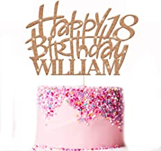 Happy Birthday Cake Topper Party Decoration. Personalised with Custom Name and Age. Double Sided 400 Gram Glitter Card. 21st Birthday. Any Glitter Colour Cake Decoration