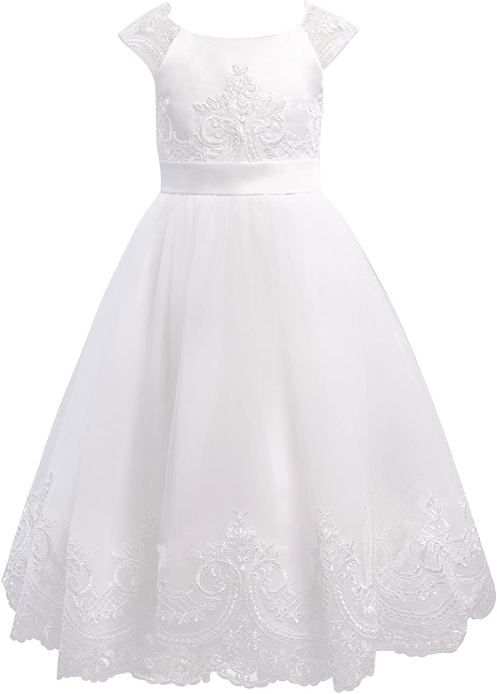 Miama Ivory Lace Tulle Cap Sleeves Dress Wedding Chr Girl Direct sale of manufacturer Flower Cheap mail order specialty store