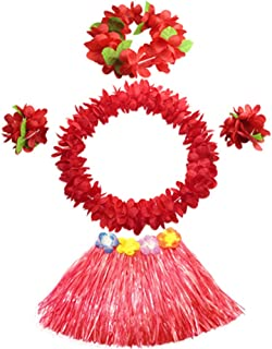 30cm Kids Elastic Grass Skirt with Flowers Bracelets Headband Necklace Hula Set