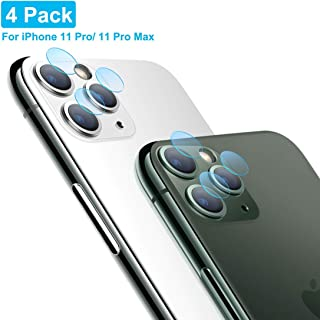 Tamoria Camera Screen Protector for iPhone 11 Pro / 11 Pro Max 5.8/6.5 Inch [4 Pack] One Second Fit Camerea Accessories 0.2MM Thin Organic Tempered Glass Camera Lens Protector for iPhone 11 Pro Max