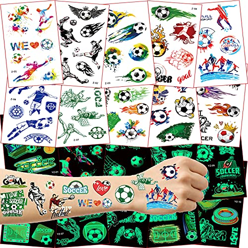 Tattoo Kinder,Fußball Tattoo Aufkleber Set,Tattoo Leuchten im Dunkeln Kinder,Temporäre Tattoos für Junge,Kindertattoos Fußball Sticker,Kindergeburtstag Mitgebsel Fußball Party