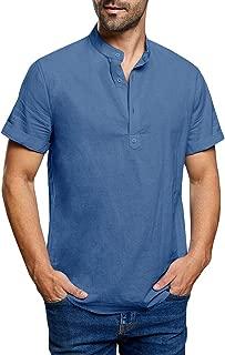 Beotyshow Mens Linen Cotton Henley Shirts Collarless Dress Short Sleeve Tee Shirts for Man