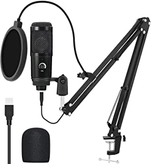 USB Microphone Kit, Professional 192KHZ/24Bit Studio Cardioid Mic Podcast Condenser Microphone with Professional Sound Chi...