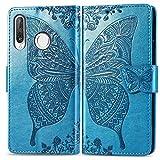 Bravoday Handyhülle für Huawei P30 Lite Hülle, Stoßfest PU Leder Tasche Flip Hülle Schutzhülle für Huawei P30 Lite, mit Kartenfäch und Kickstand, Blau
