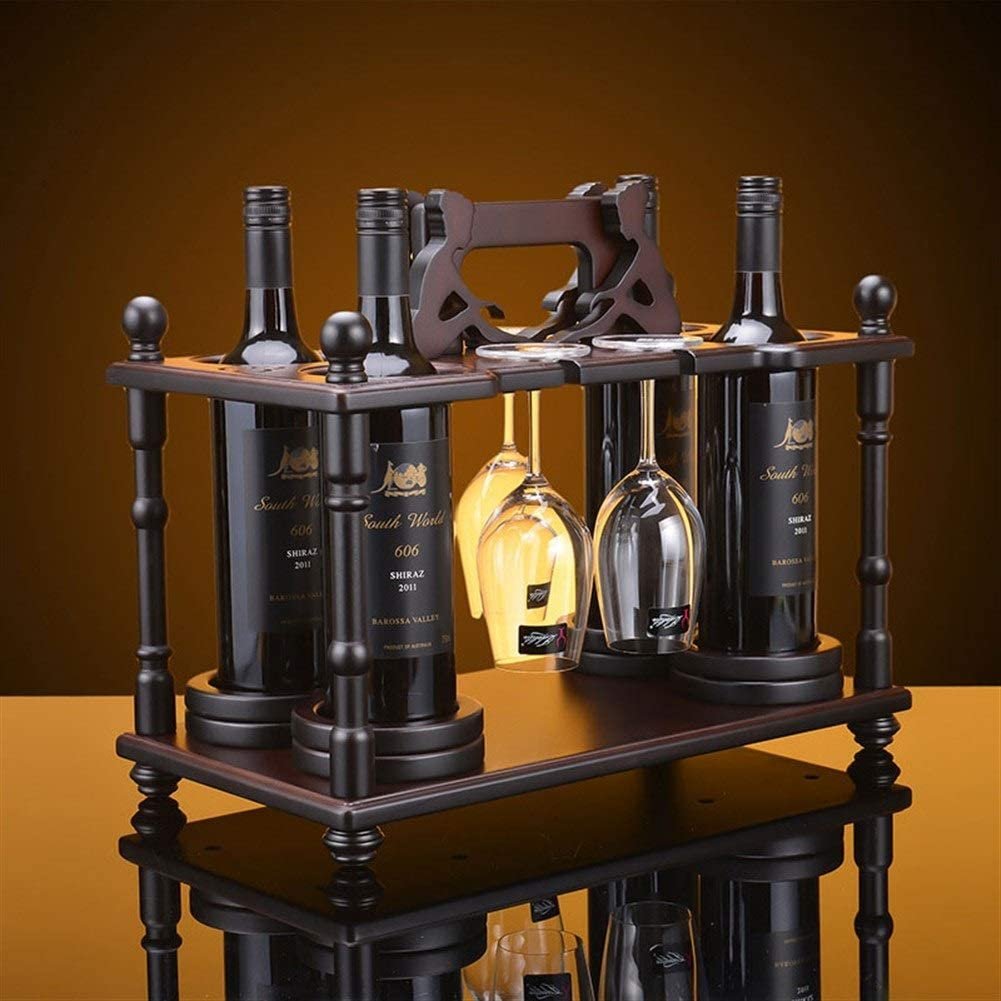 Tabletop Wine Rack Detroit Mall Wood Year-end annual account Countertop Glass Holder with
