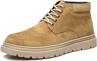 MING-BIN Chaussures Confortables Lacer Brochage en Cuir véritable Wingtip Brogue Bout Rond en Caoutchouc Lug Sole Loisir C...