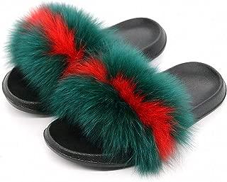 Tinpia Womens Summer Fox Fur Slippers Real Fox Hair Slides Female Furry Indoor Flip Flops Casual Beach Sandals Fluffy Plush Shoes