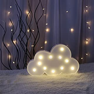 GUOCHENG Cute Cloud LED Night Light Battery Operated LED Marquee Light Sign Decorative Table Lamps for Baby Children Bedroom Nursery Christmas Birthday Party(White)