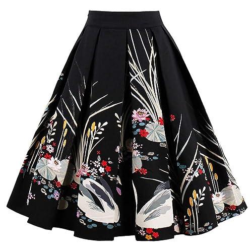 4c6edaa095f3b Dressever Women s Vintage A-line Printed Pleated Flared Midi Skirts